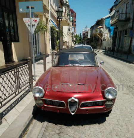 Very rare Alfa Romeo 2600 Spider in the streets of Georgian city Batumi